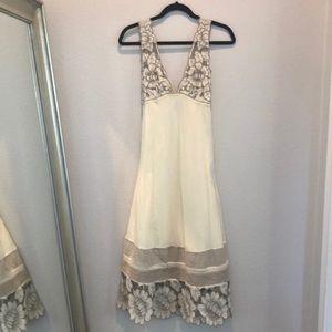 Catherine malandrino cream and taupe midi dress